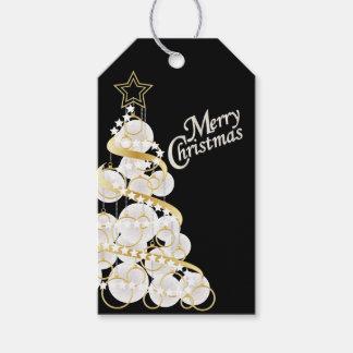 Eleganter Weiß-und Goldweihnachtsbaum Geschenkanhänger