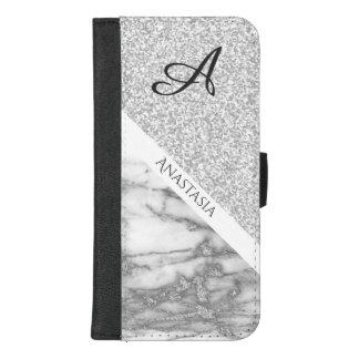 Eleganter weißer Marmor-und Glitzer-Entwurf iPhone 8/7 Plus Geldbeutel-Hülle