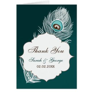 Eleganter weißer und aquamariner Pfau danken Ihnen Karte