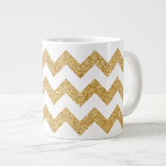 Eleganter weißes GoldGlitter-Zickzack-Zickzack Jumbo-Tasse