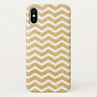 Eleganter weißes GoldGlitzer-Zickzack-Zickzack iPhone X Hülle