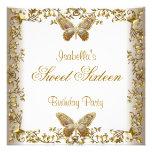 Eleganter weißes Goldschmetterling 16. Geburtstag Individuelle Einladung
