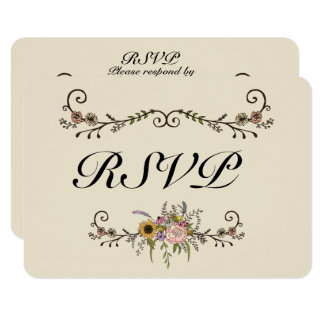 """Eleganter Wildblume-Hochzeit UAWG Lech 3,5"""" x 5"""" Karte"""