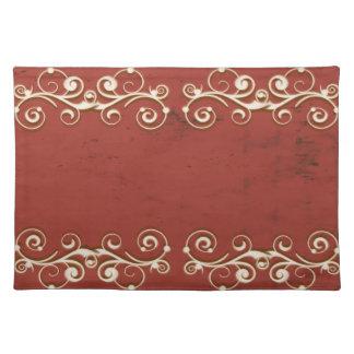 Eleganter Wirbel auf einem Rot Tischset