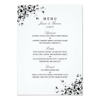 Eleganter Wirbel schwarz u. weißes Hochzeits-Menü 11,4 X 15,9 Cm Einladungskarte