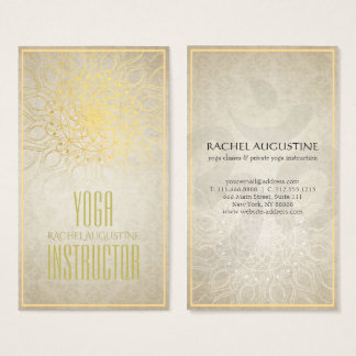 Eleganter YOGA Lehrer-BlumenMandala u. OM-Symbol Visitenkarte