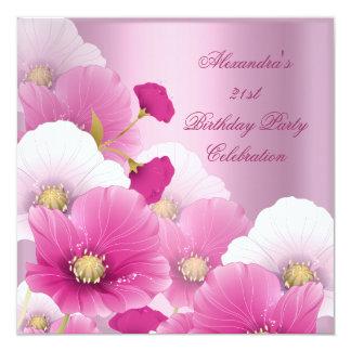 Elegantes 21. Geburtstags-Party-Rosa-weiße Quadratische 13,3 Cm Einladungskarte