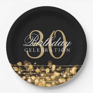 Elegantes 30. Geburtstags-Party-Glitzern-Gold Pappteller