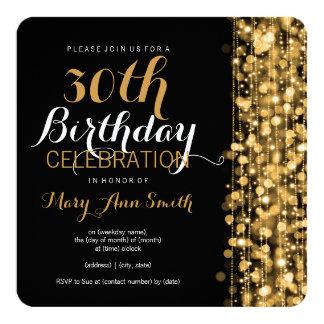 Elegantes 30. Geburtstags-Party-Glitzern-Gold Quadratische 13,3 Cm Einladungskarte