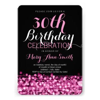 Elegantes 30. Geburtstags-Party-Glitzern-Rosa Einladungen