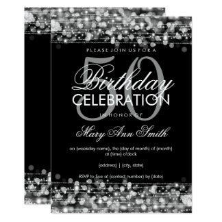 Elegantes 50. Geburtstags-Party-Glitzern-Silber Karte