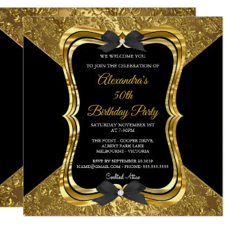 Elegantes 50. Geburtstags-Party-Goldgoldenes Karte