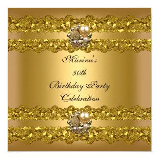 Elegantes 50. Geburtstags-Party-Goldperlen-Juwel Karte