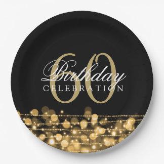 Elegantes 60. Geburtstags-Party-Glitzern-Gold Pappteller