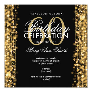 Elegantes 60. Geburtstags-Party-Glitzern-Gold Quadratische 13,3 Cm Einladungskarte