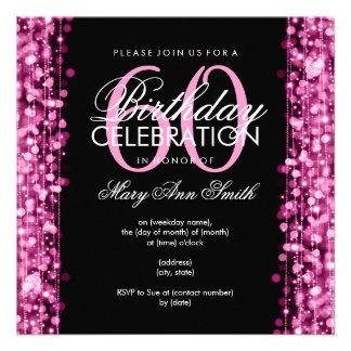 Elegantes 60. Geburtstags-Party-Glitzern-Rosa Ankündigungskarten