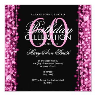 Elegantes 60. Geburtstags-Party-Glitzern-Rosa Quadratische 13,3 Cm Einladungskarte