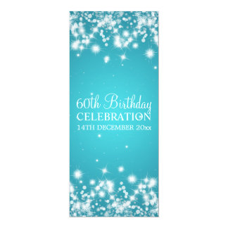 Elegantes 60. Geburtstags-Party-Winter-Schein-Blau 10,2 X 23,5 Cm Einladungskarte