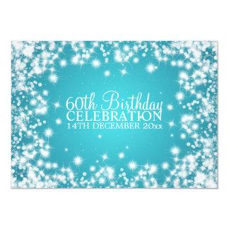 Elegantes 60. Geburtstags-Party-Winter-Schein-Blau 12,7 X 17,8 Cm Einladungskarte