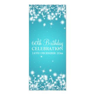Elegantes 60. Geburtstags-Party-Winter-Schein-Blau Ankündigungskarten