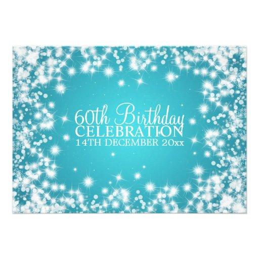 Elegantes 60. Geburtstags-Party-Winter-Schein-Blau Personalisierte Einladungen