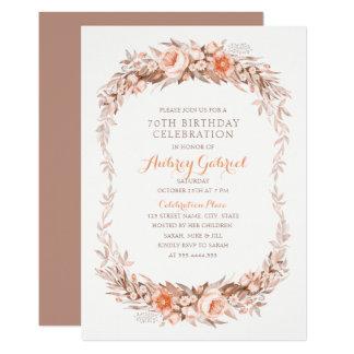 Elegantes 70. Geburtstags-Party-Blumenfall Karte