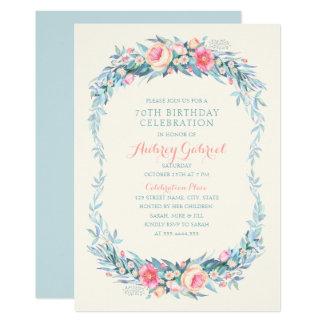 Elegantes 70. Geburtstags-PartyblumenWatercolor Karte