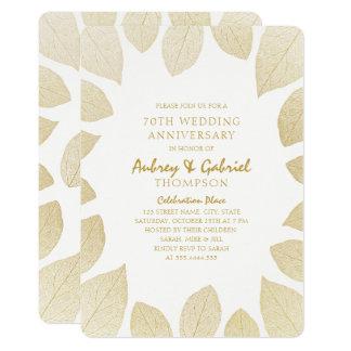 Elegantes 70. Hochzeits-Jahrestags-goldenes Karte