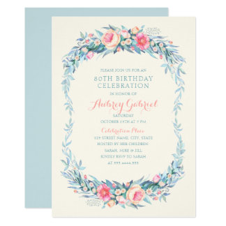 Elegantes 80. Geburtstags-PartyblumenWatercolor Karte