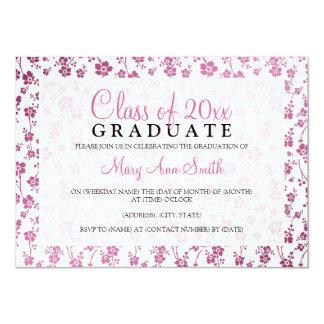 Elegantes Abschluss-Party-Blumenmuster-Rosa 11,4 X 15,9 Cm Einladungskarte