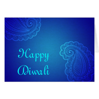 Elegantes Aqua blaues Paisley glückliches Diwali Karte