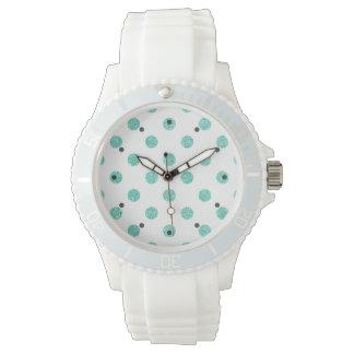 Elegantes aquamarines Glitter-Polka-Punkt-Muster Armbanduhr