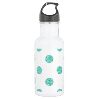 Elegantes aquamarines Glitter-Polka-Punkt-Muster Edelstahlflasche