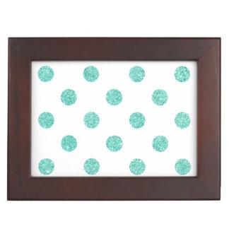 Elegantes aquamarines Glitter-Polka-Punkt-Muster Erinnerungsdose