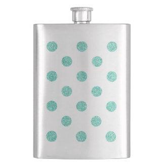 Elegantes aquamarines Glitter-Polka-Punkt-Muster Flachmann