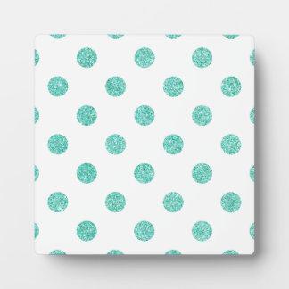 Elegantes aquamarines Glitter-Polka-Punkt-Muster Fotoplatte