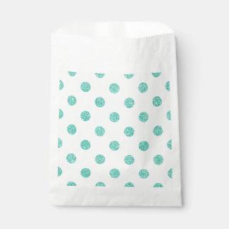 Elegantes aquamarines Glitter-Polka-Punkt-Muster Geschenktütchen