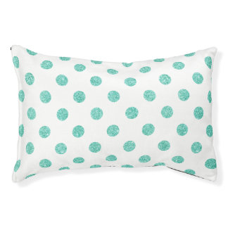 Elegantes aquamarines Glitter-Polka-Punkt-Muster Haustierbett