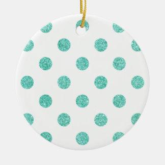 Elegantes aquamarines Glitter-Polka-Punkt-Muster Keramik Ornament