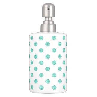 Elegantes aquamarines Glitter-Polka-Punkt-Muster Seifenspender & Zahnbürstenhalter