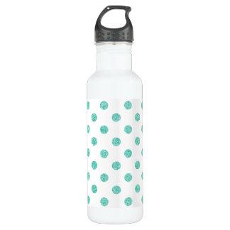 Elegantes aquamarines Glitter-Polka-Punkt-Muster Trinkflasche