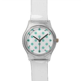 Elegantes aquamarines Glitter-Polka-Punkt-Muster Uhr