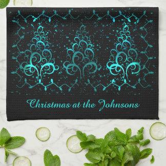 Elegantes aquamarines Weihnachten Geschirrtuch