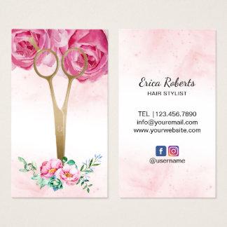 Elegantes Aquarell-Blumengold Scissor Friseursalon Visitenkarte