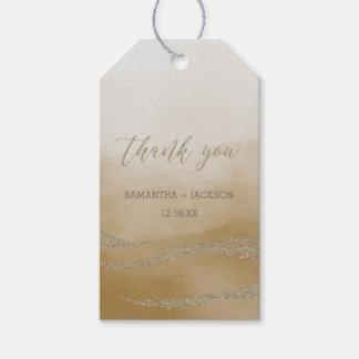 Elegantes Aquarell in der Sand-Hochzeit danken Geschenkanhänger