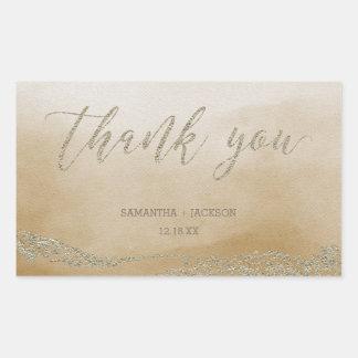 Elegantes Aquarell in der Sand-Hochzeit danken Rechteckiger Aufkleber