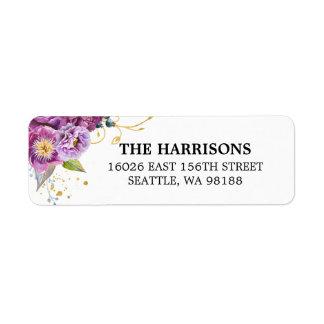 Elegantes Aquarell-violettes mit Blumengold