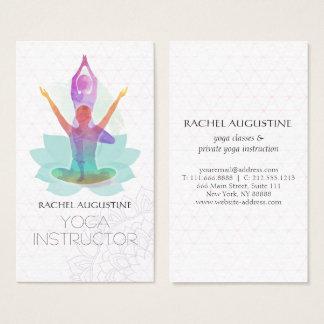 Elegantes Aquarell-Yoga-Meditations-Lotus-Muster Visitenkarte