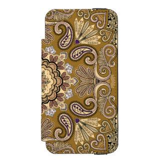 Elegantes beige Paisley-Muster Incipio Watson™ iPhone 5 Geldbörsen Hülle