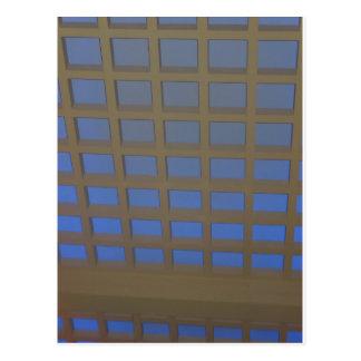 Elegantes Blau gekippte Fenster-Scheiben-grafische Postkarten